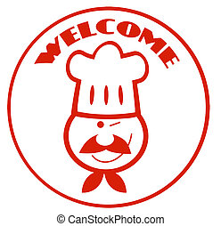 Red Winked Chef Man Face Cartoon Logo Circle