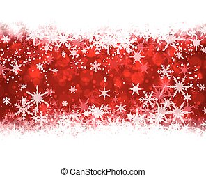 Red winter background with snowflakes.