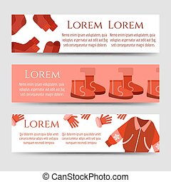 Red winter clothes and accessorises banners template, vector...
