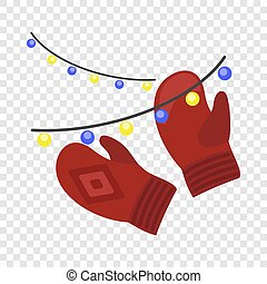 Red winter gloves icon, flat style