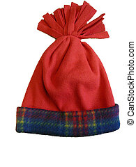 Red Winter Hat with Plaid - Red winter hat with blue plaid...