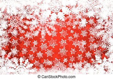 Red winter snowy background