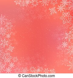 Red winter square banner background with snowflake
