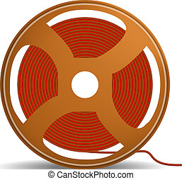 Red wire coil icon, realistic style - Red wire coil icon....
