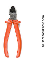 Red wire cutter isolated on a white background.
