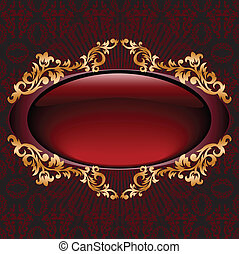 Red with gilt vignette