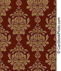 red with gold damask background