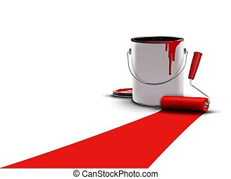 red with paint can and roller
