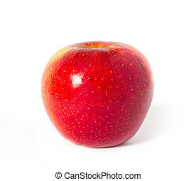 red with yellow apple on white
