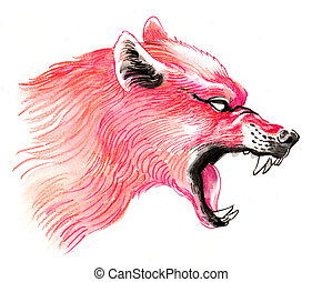 Ink and watercolor drawing of a mad red wolf
