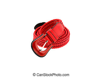 red woman crochet belt isolated on white background