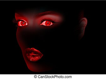Red Woman Eyes and Lips On Black