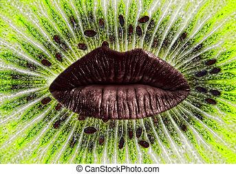 Red woman lips on ripe green kiwi slice background.