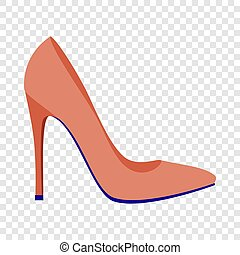 Red woman shoe icon, flat style