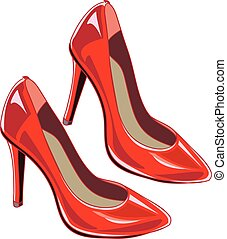 Red woman shoes. Vector illustration.