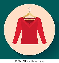 red women sweater clothes on a hanger icon vector flat style