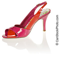 Red women's high-heel shoe on white background