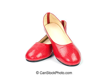 Red women's shoes on a white background.