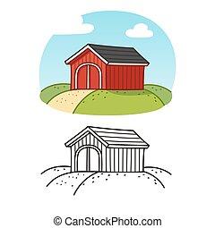 Red wooden barn illustration