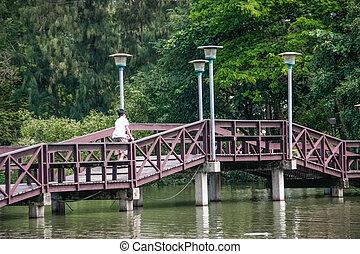 wooden bridge over pond