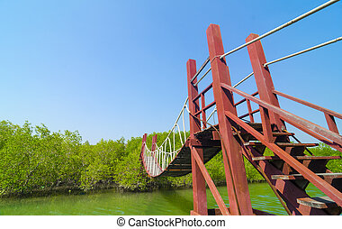 Red wooden bridge to a natural forest with blue sky, Thailand