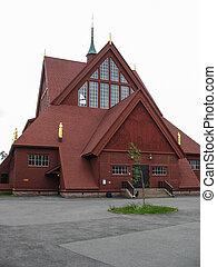 Red wooden church in Kiruna (Sweden)
