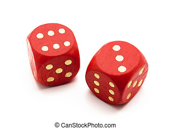 Red wooden dice