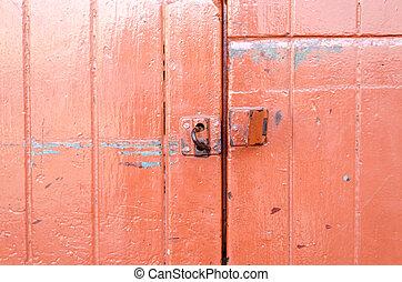 red wooden door background, texture