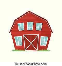 Red wooden farm barn with big windows for keeping animals or agricultural equipment. Cartoon rural building. Countryside architecture. Colorful flat vector design