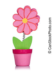Red wooden flower in a pot