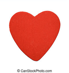 Red wooden heart isolated on white background