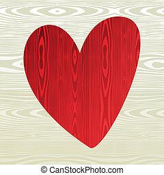 Red wooden heart shape