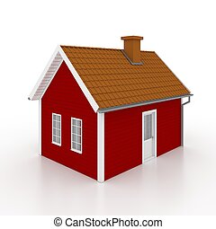 Red wooden house isolated on white