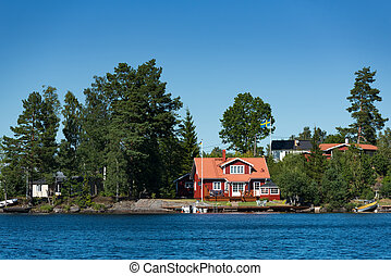 Red wooden house, Sweden
