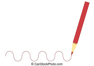 Red wooden pencil drawing