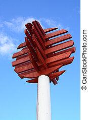 Red wooden port marker