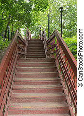 red wooden staircase