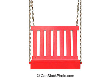 red wooden swing isolated on white background