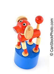 wooden toy dog - red wooden toy dog