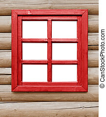 Red wooden window on the farmhouse