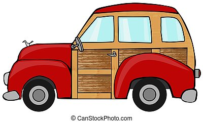 Illustration of an old red woody station wagon.