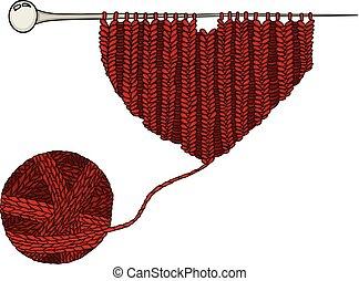 Red wool ball and heart knitting yarn