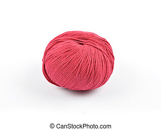 Red wool on white background