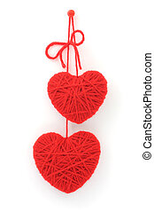 red woolen hearts - two hearts made of red wool yarn