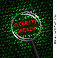 "Red word ""SECURITY BREACH"" revealed revealed in green..."