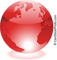 Red world - Glossy red world isolated on white