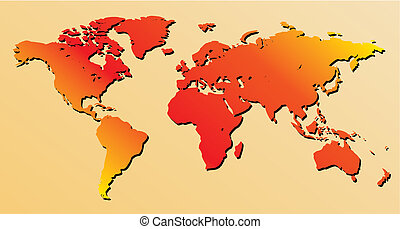 red world map - vector