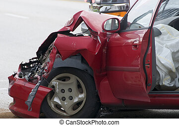 Red Wreck - Red vehicle with smashed front end showing air...