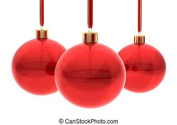 Red Xmas balls on white