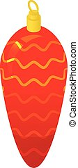 Red xmas cone icon, isometric style